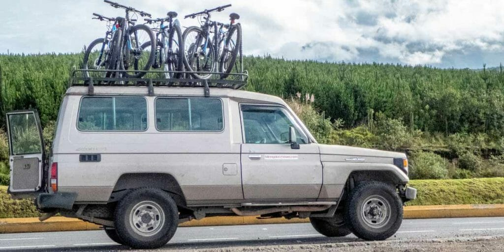 bikes loaded on jeep ready for a cotopaxi biking tour