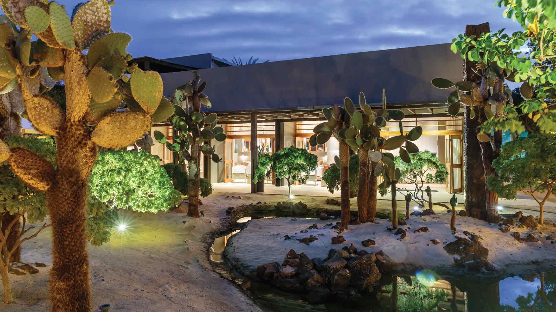 outside cactus garden at finch bay hotel