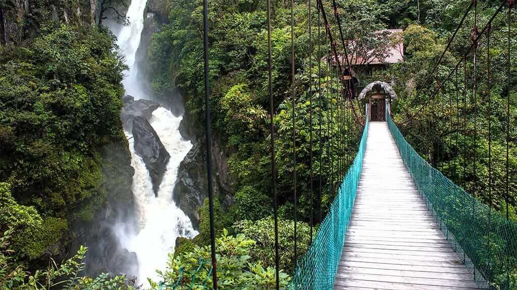 Walkway bridge to the Pailon del diablo waterfall, Baños, Ecuador