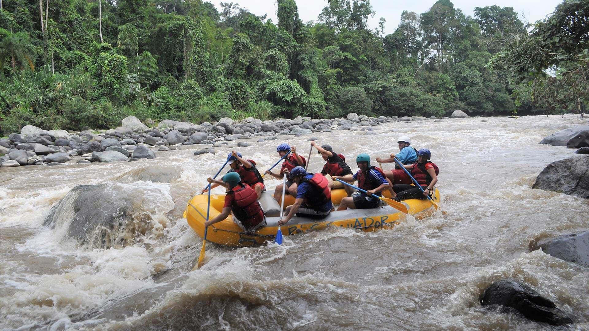 paddling white water on ecuador rafting tour on the toachi river