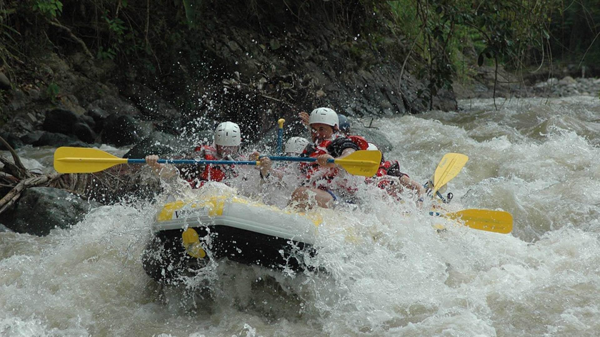 big splash of white water rapids on the quijos river ecuador