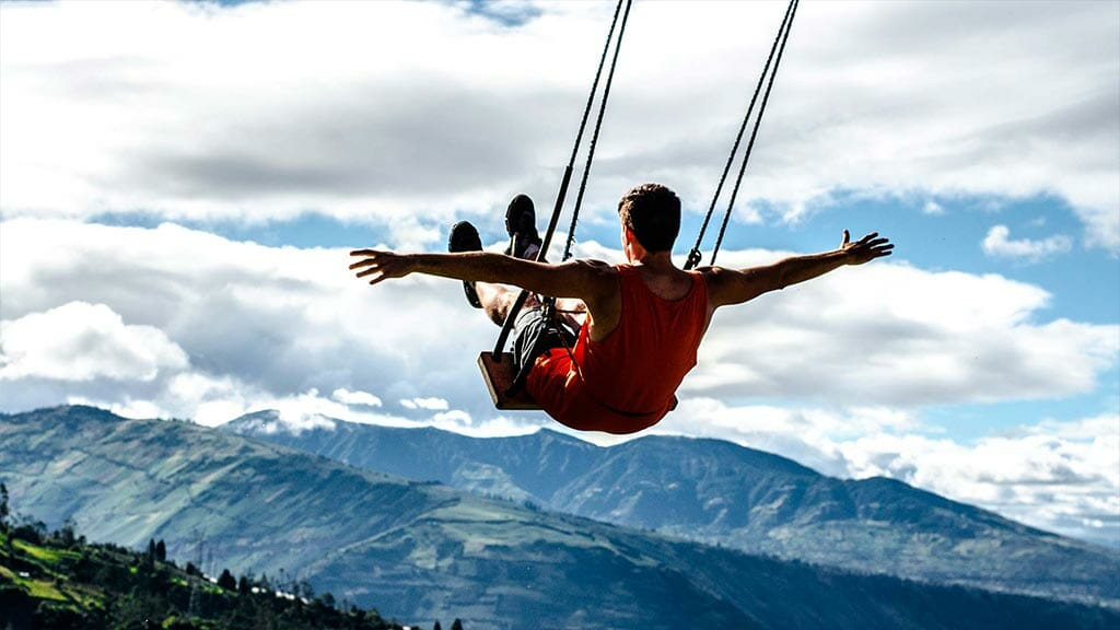 view from banos swing at the end of the world ecuador