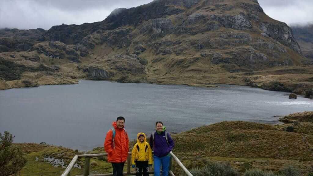 family at el cajas national park ecuador