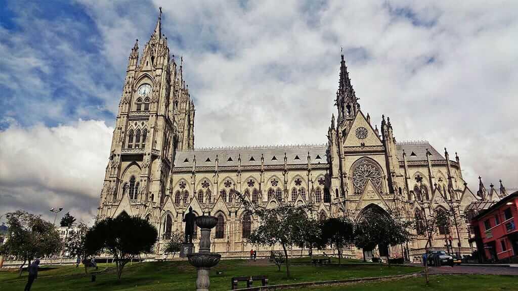 wide veiw of Quito Basilica Church in the old town - Ecuador