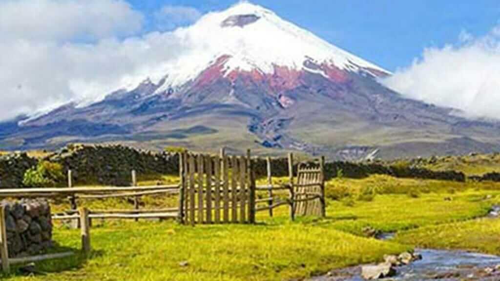 snowcapped cotopaxi volcano in ecuador