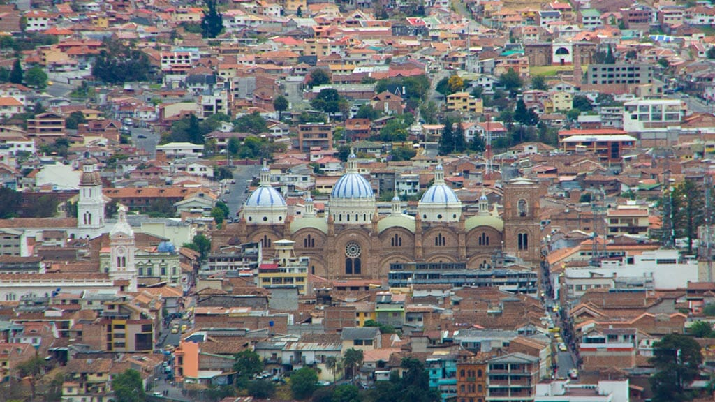 cuenca city landscape with blue dome cuenca cathedral