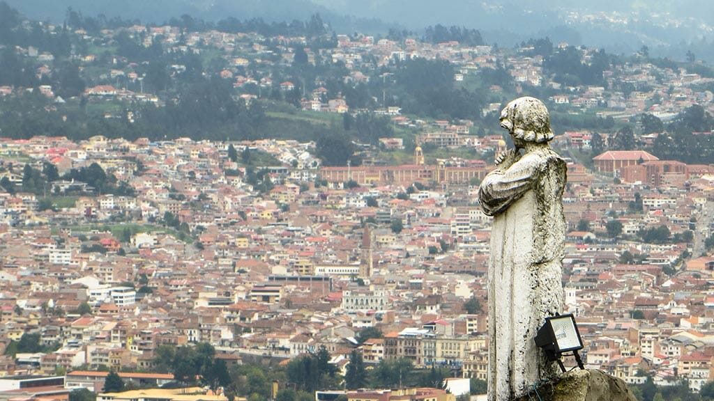 statue looking over cuenca city from turi lookout