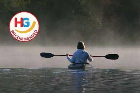 filter girl paddeling on amazon rainforest kayak adventure tour Ecuador