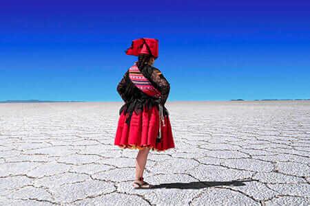 Indigenous Girl on salar de uyuni salt flats bolivia