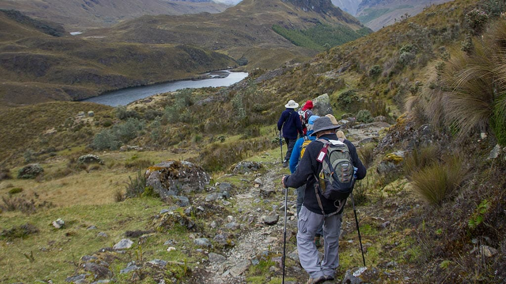 tourist group treking in el cajas national park ecuador