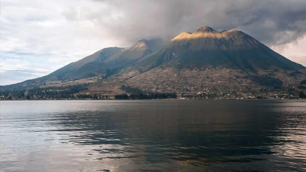 majestic imbabura volcano behind lago san pablo lake otavalo ecuador