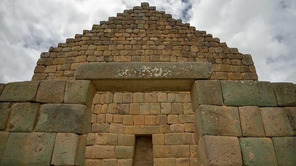 impressive inca walls and doorway at ingapirca ecuador