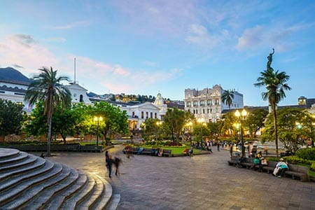 beautiful night view of quito main square in historic colonial center