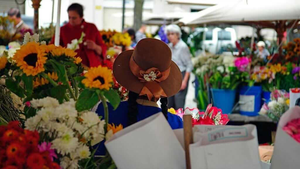 colorful scenes at cuenca flower market ecuador