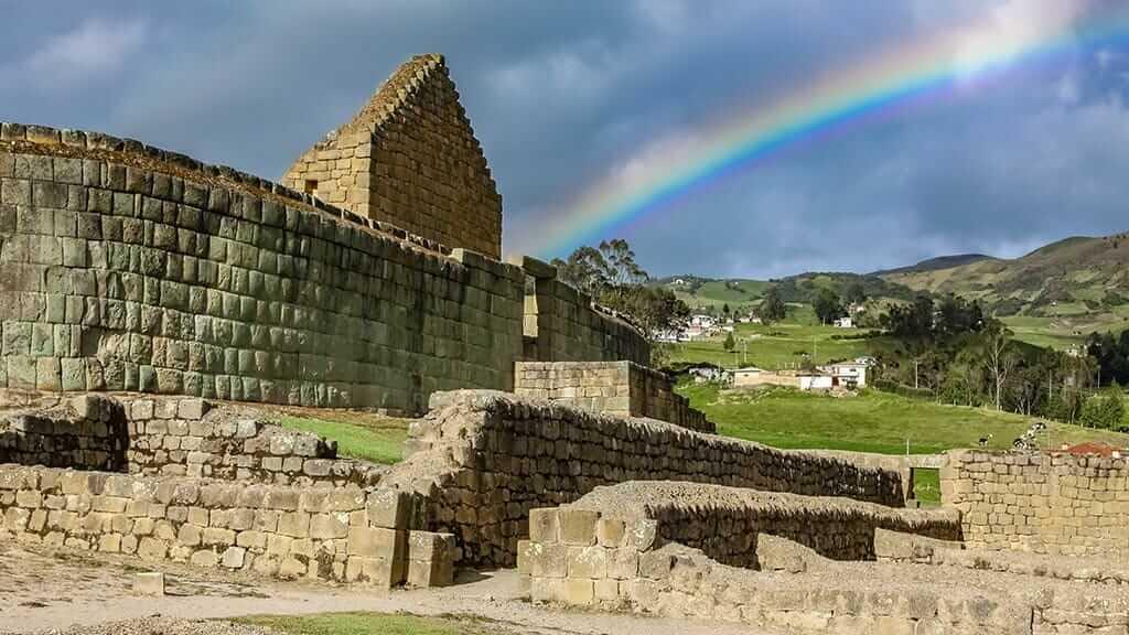 beautiful rainbow at ingapirca ruins ecuador