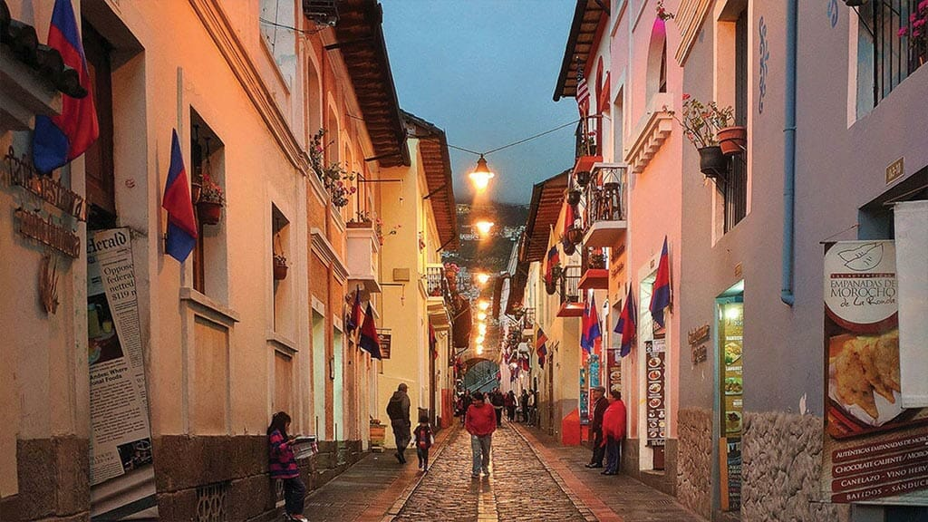 night view of tourists walking la ronda street in quito ecuador