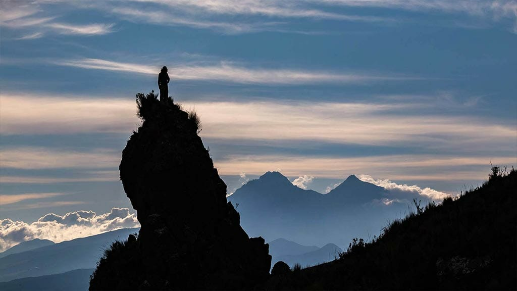 Beautiful view of Iliinizas Volcano peaks, Ecuador