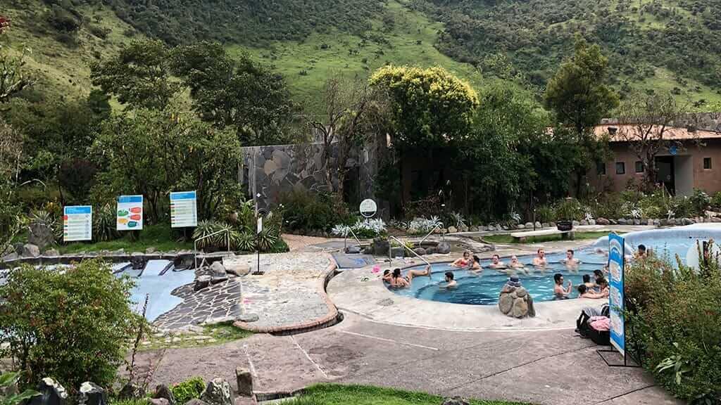 tourists bathing at hot springs papallacta ecuador