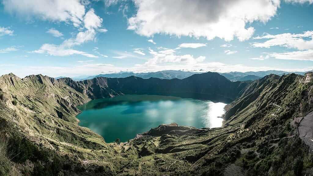 panoramic view of quilotoa lagoon ecuador
