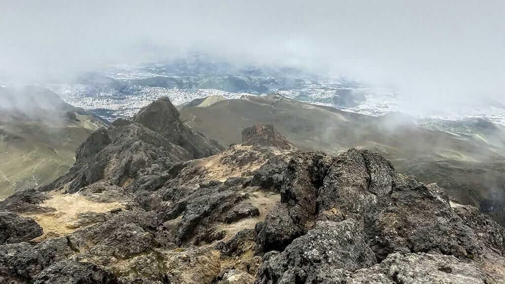 rucu pichincha peak high in the clouds above quito ecuador