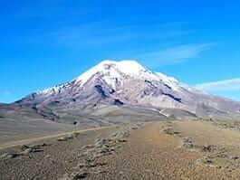 View of Chimborazo volcano Ecuador with blue sky background