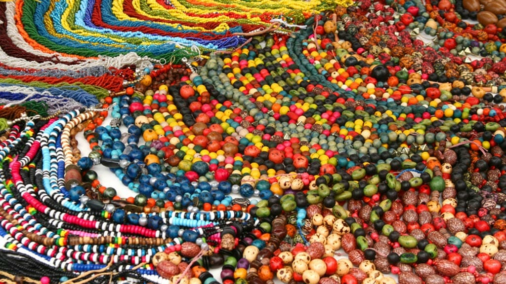 traditional bead jewellery for sale at otavalo market ecuador