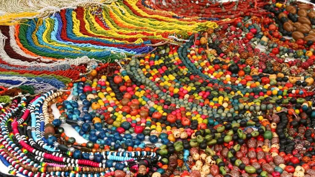 traditional bead jewellery for sale at otavalo market ecuador