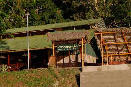 anaconda lodge tena ecuador - main entrance to the rainforest lodge and sign