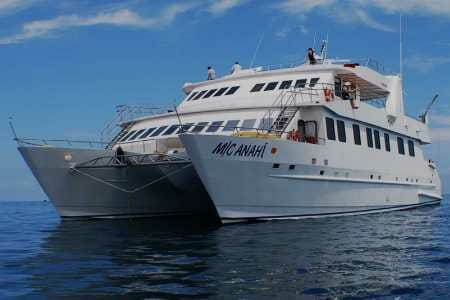 Anahi catamaran yacht Galapagos cruise - front view of Anahi yacht