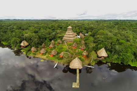 aerial view of napo wildlife center lodge surrounded by trees and amazon jungle