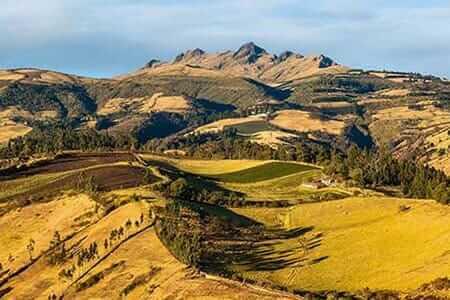 green hills of pasochoa volcano nature reserve in ecuador