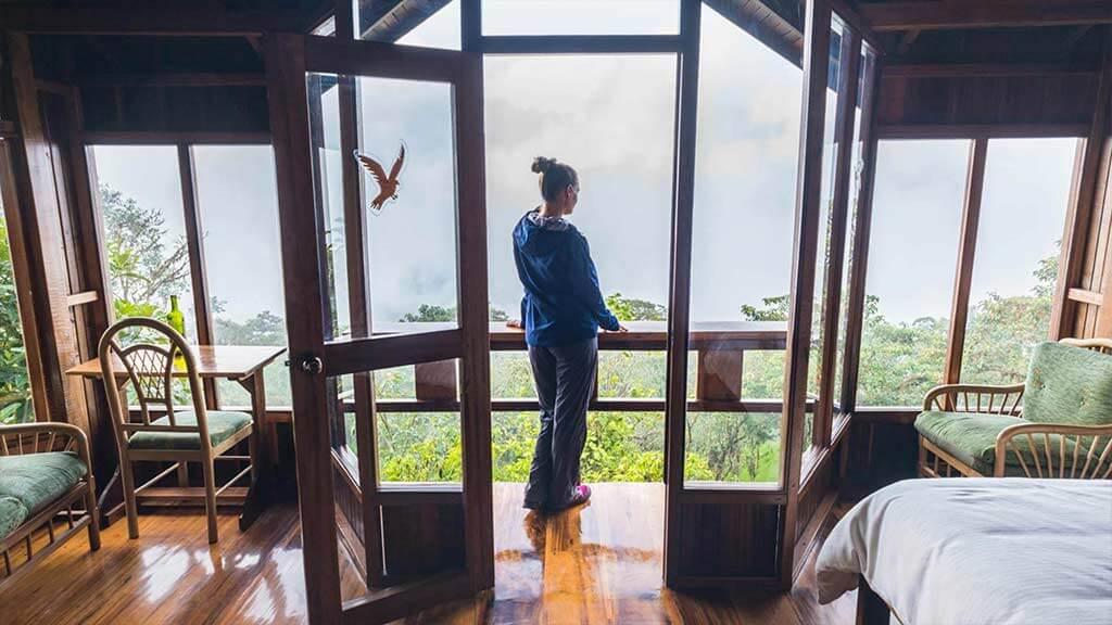 tourist enjoys view from balcony at santa lucia cloud forest ecuador