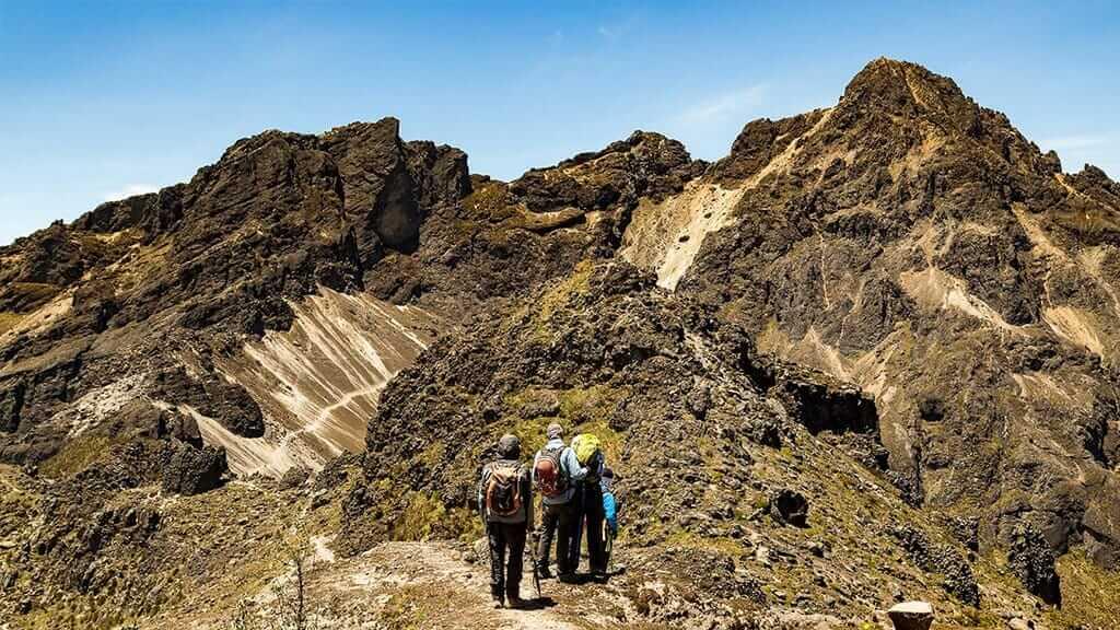 tourists treking pichincha volcano high above quito elevation
