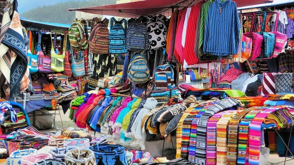 colorful market stall at otavalo market ecuador