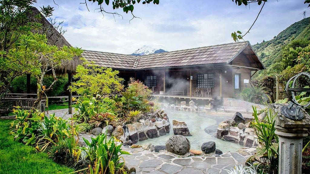 steaming hot spring pools and cabins at papallacta