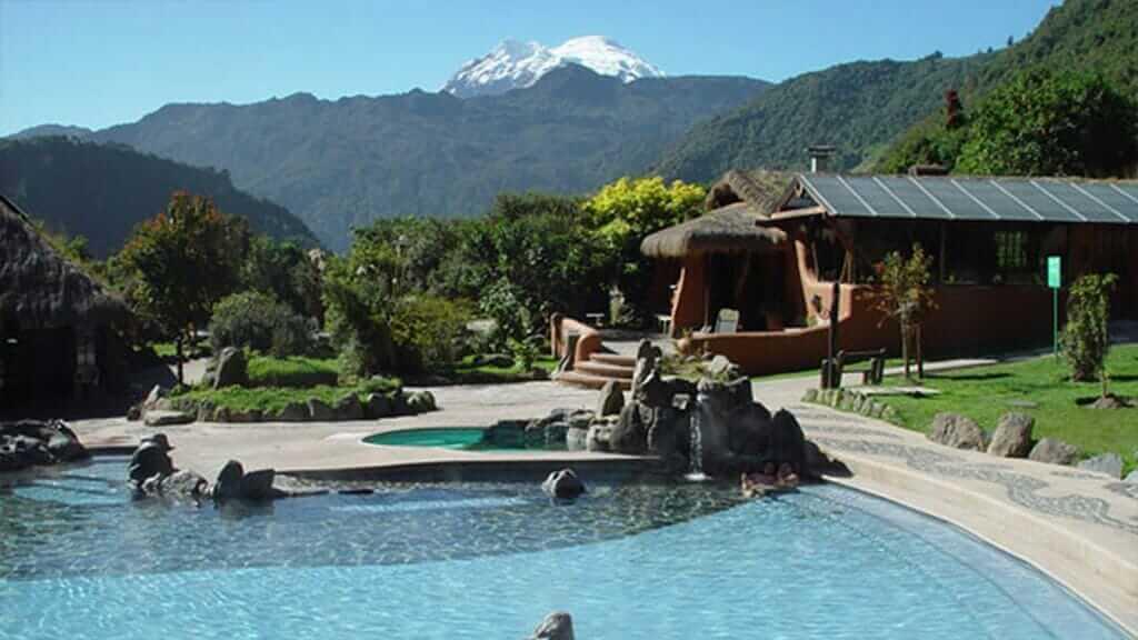 papallacta hot springs pool with antisana volcano