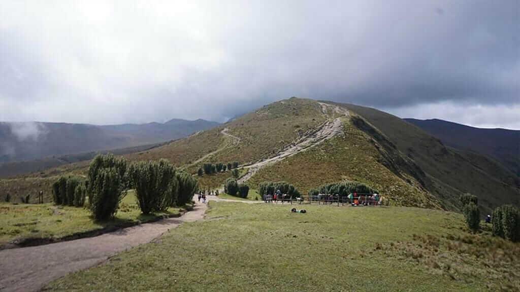 treking trail towards summit of rucu pichincha volcano quito ecuador
