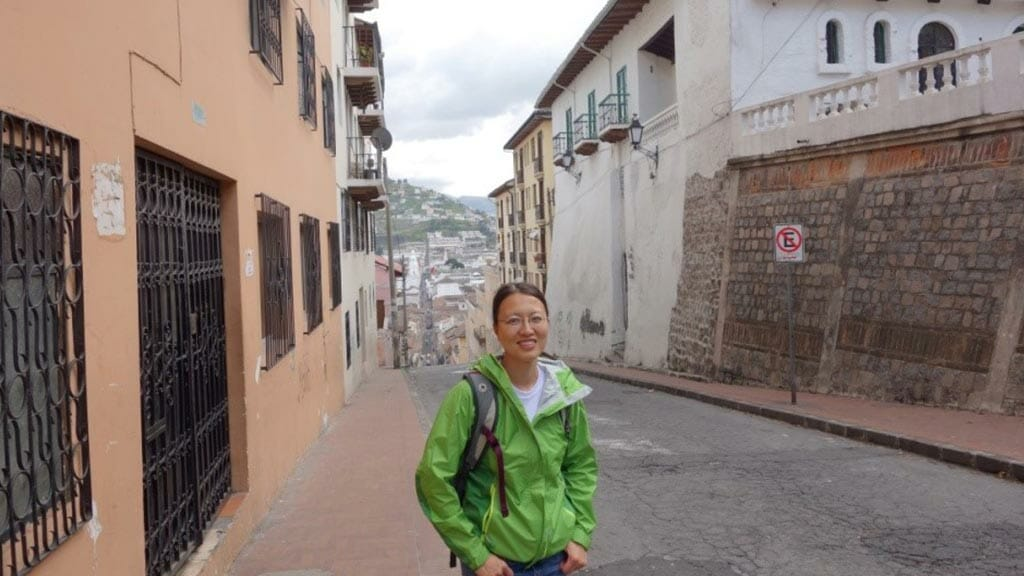 tourist exploring the streets of quito ecuador