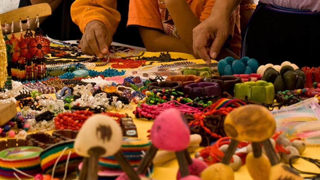 market stool ecuador with handicrafts