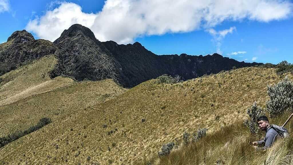 tourist treking to pasochoa volcano ecuador