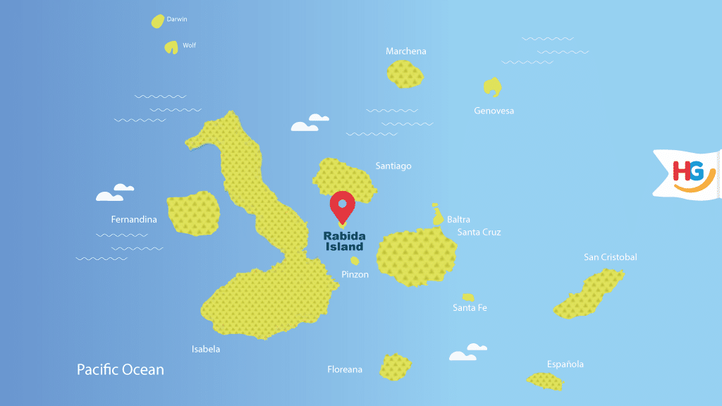 rabida island galapagos map where is rabida island