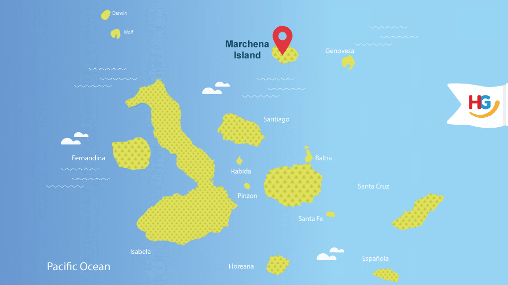 map of marchena island galapagos