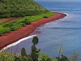 Red beach landscape at Rabida island galapagos