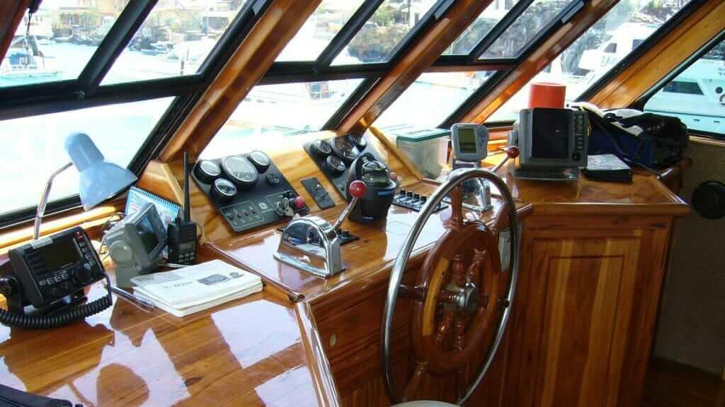 Aida Maria yacht - captains deck Galapagos islands