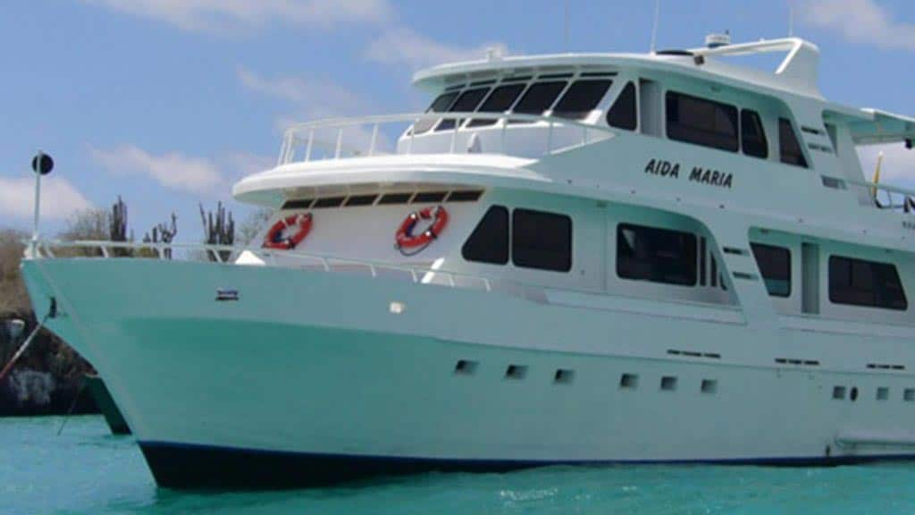 Galapagos cruise - close up of Aida Maria motor yacht Galapagos islands