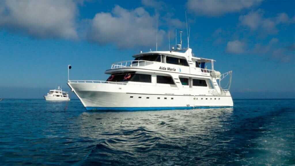 Galapagos cruise - Aida Maria yacht anchored at the Galapagos islands