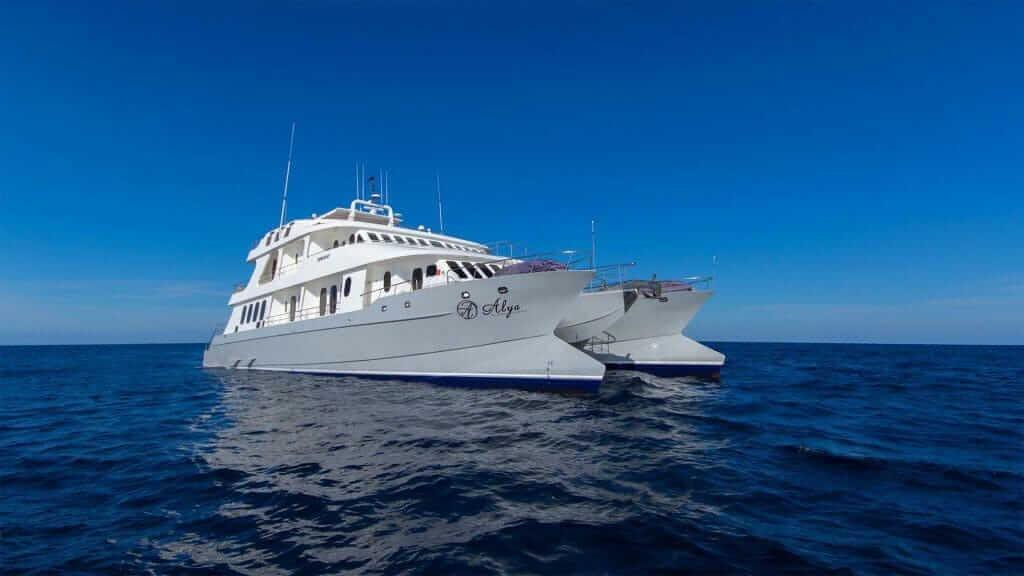 Alya catamaran yacht with blue ocean and sky - Galapagos islands cruise
