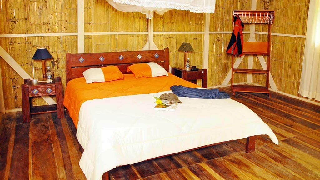 double bed guest room at amazon dolphin lodge ecuador