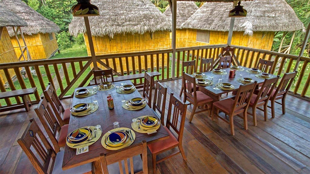 amazon dolphin lodge dining tables ready for breakfast
