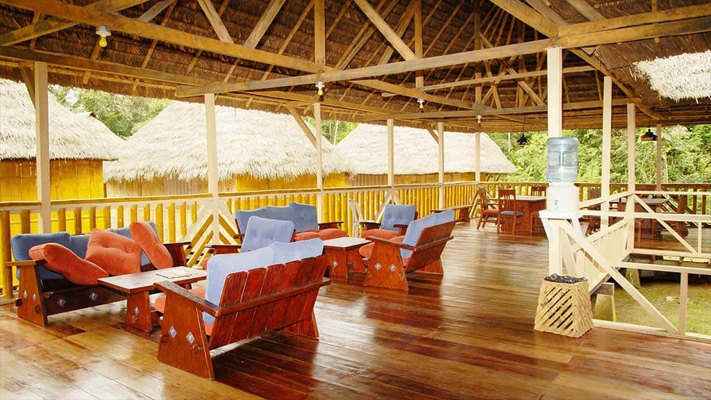 amazon dolphin lodge - open air social area with sofas and thatch roof